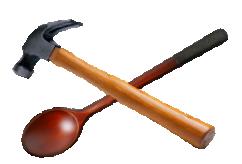 logo met hamer en lepel