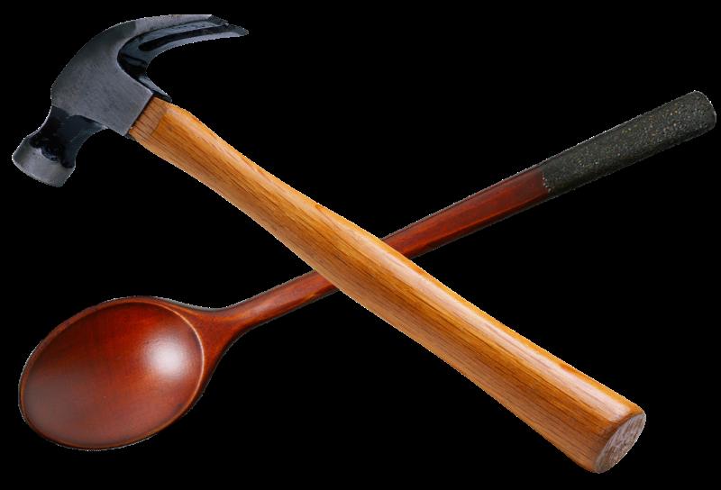 logo houten lepel en hamer